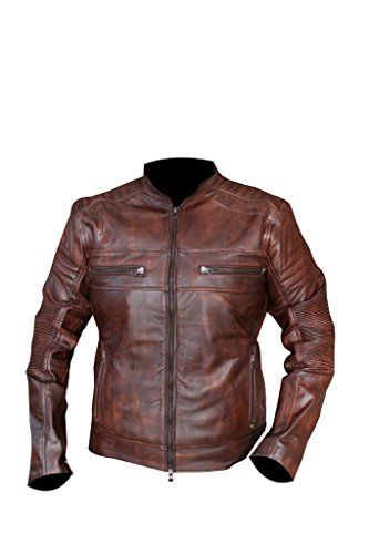 Men's Cafe Racer Style Washed Wax Distressed Brown Vintag...