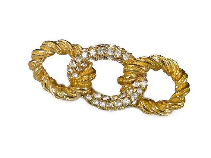 Christian Dior Brooch Twist Knot Pave Rhinestone Gold Tone