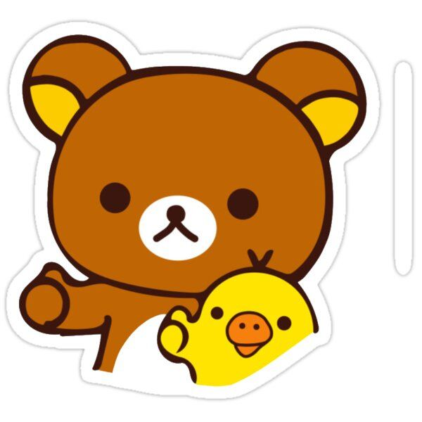 Decorate laptops, Hydro Flasks, cars and more with removable kiss-cut, vinyl decal stickers. Glossy, matte, and transparent options in various sizes. Super durable and water-resistant. A cute lil rilakkuma bear sticker :)