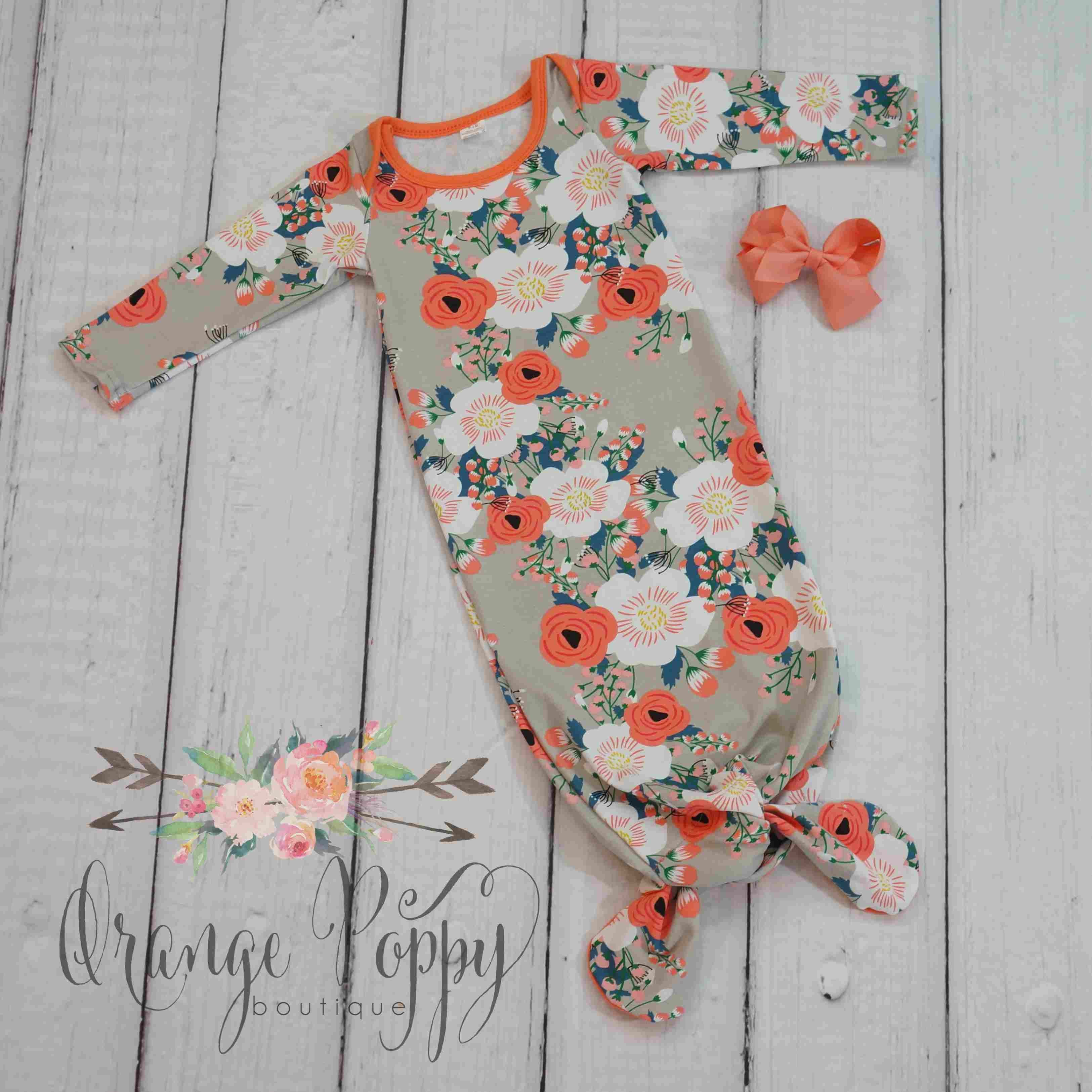 Poppi Tie-Bottom Baby Gown   Baby gown, Affordable girl ...