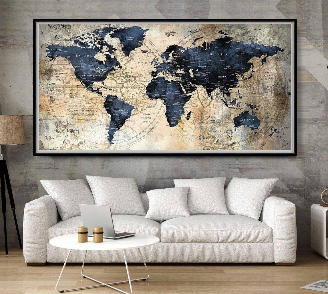 Large World Map Posterpush Pin World Mapworld Map Etsy World