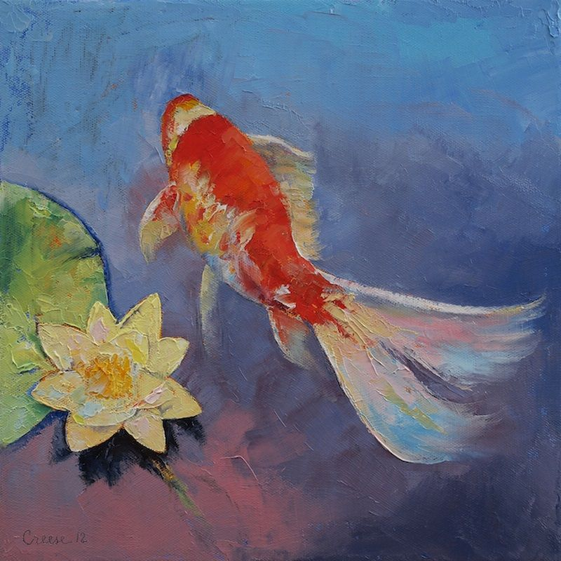 """Koi on Blue and Mauve"" art print by Michael Creese, available at CanvasOnDemand.com."