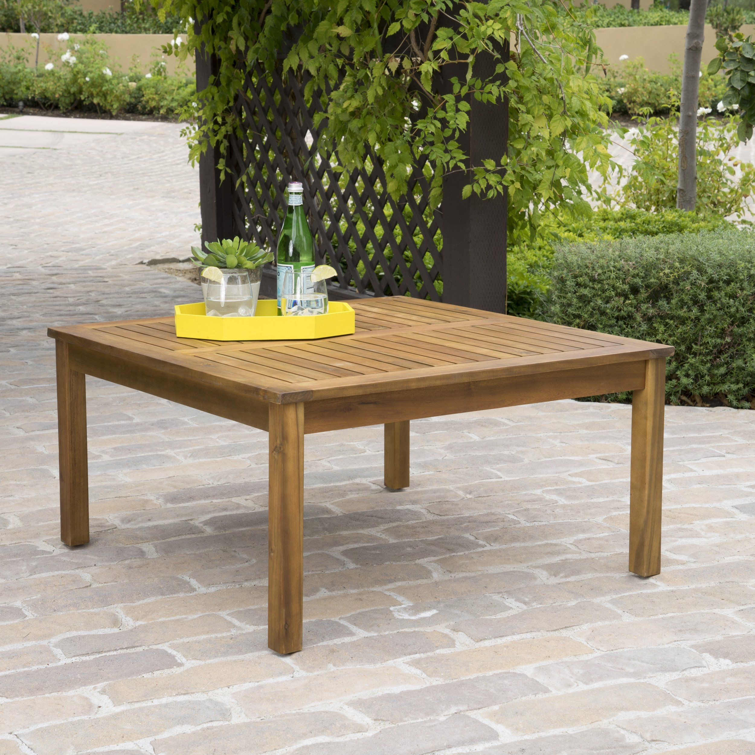 Capri Outdoor Teak Fnished Acacia Wood Coffee Table Coffee Table