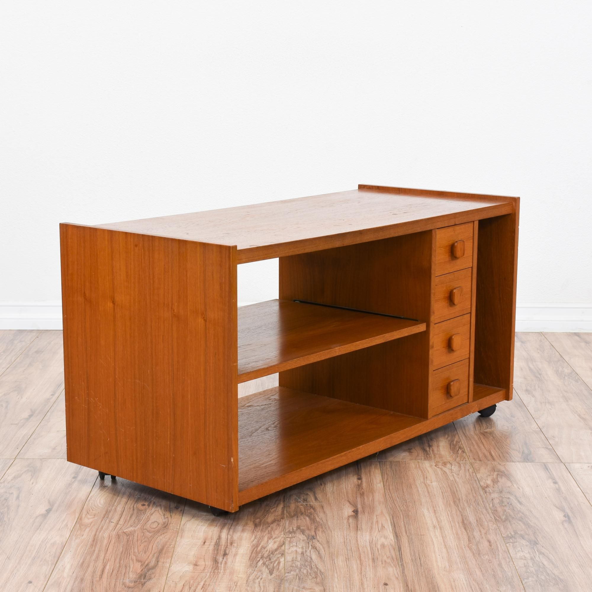 This Rolling Danish Modern Media Cabinet Is Featured In A Solid Wood With A  Gorgeous Teak