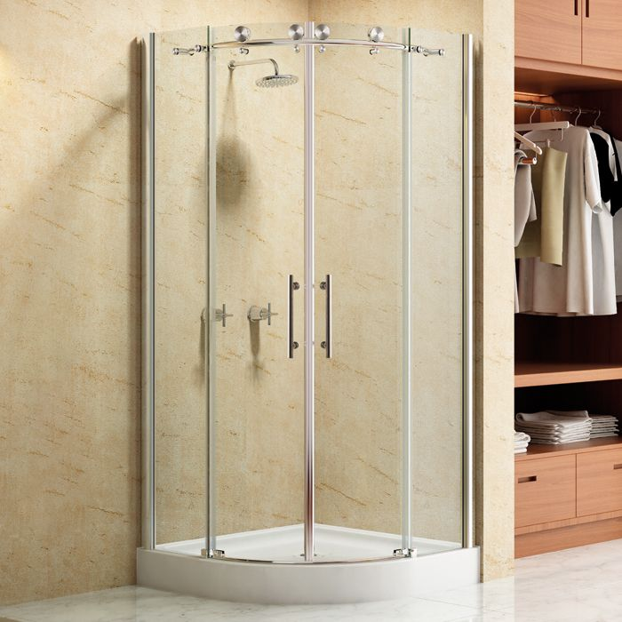 36 Curved Corner Shower Enclosure Mom S Bath Shower Doors Corner Shower Enclosures Frameless Sliding Shower Doors