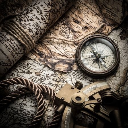 Vintage Still Life With Compass Sextant And Old Map Old Map Pirate Map Tattoo Vintage Compass