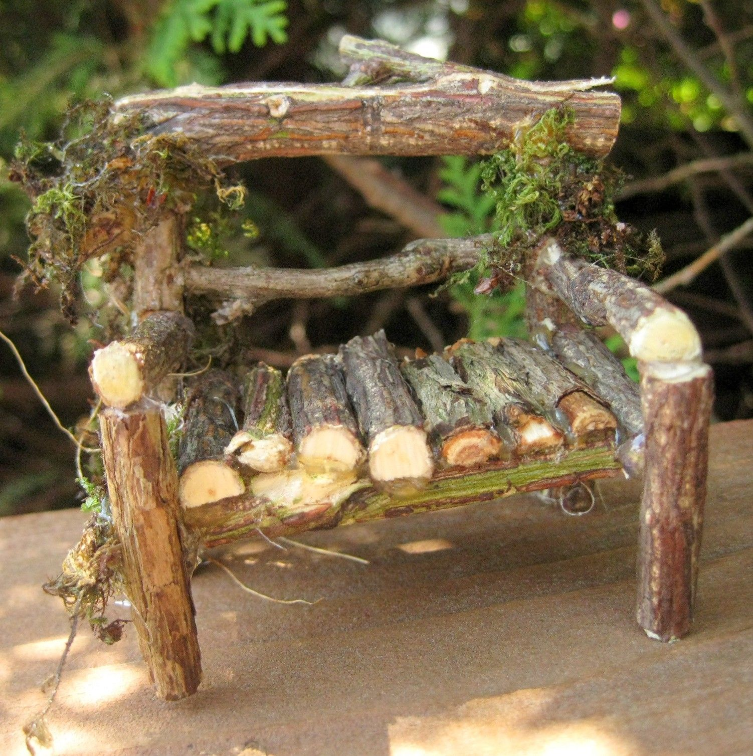 miniature fairy gardens miniature fairy garden loveseat twig garden bench by cloudfairy. Black Bedroom Furniture Sets. Home Design Ideas