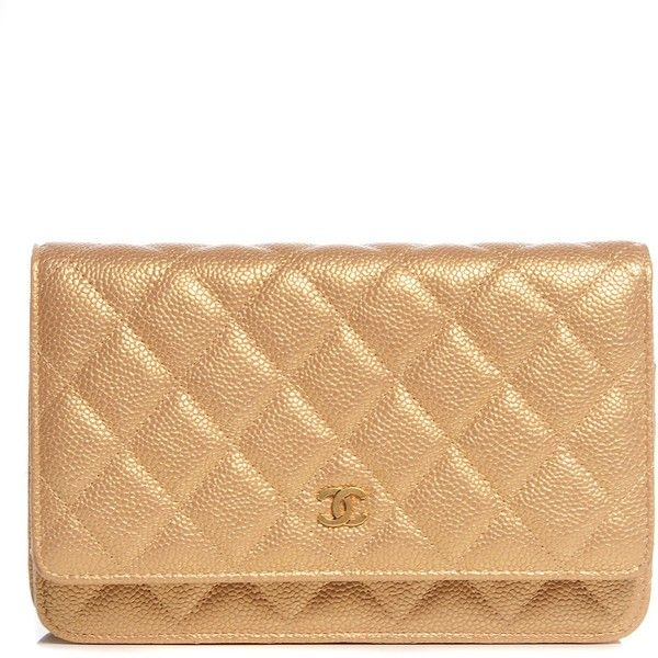 fd3d270ce34e CHANEL Pearly Caviar Quilted Wallet On Chain WOC Gold ❤ liked on Polyvore  featuring bags, beige bag, chanel bags, gold metallic bag, quilted chain  bag and ...