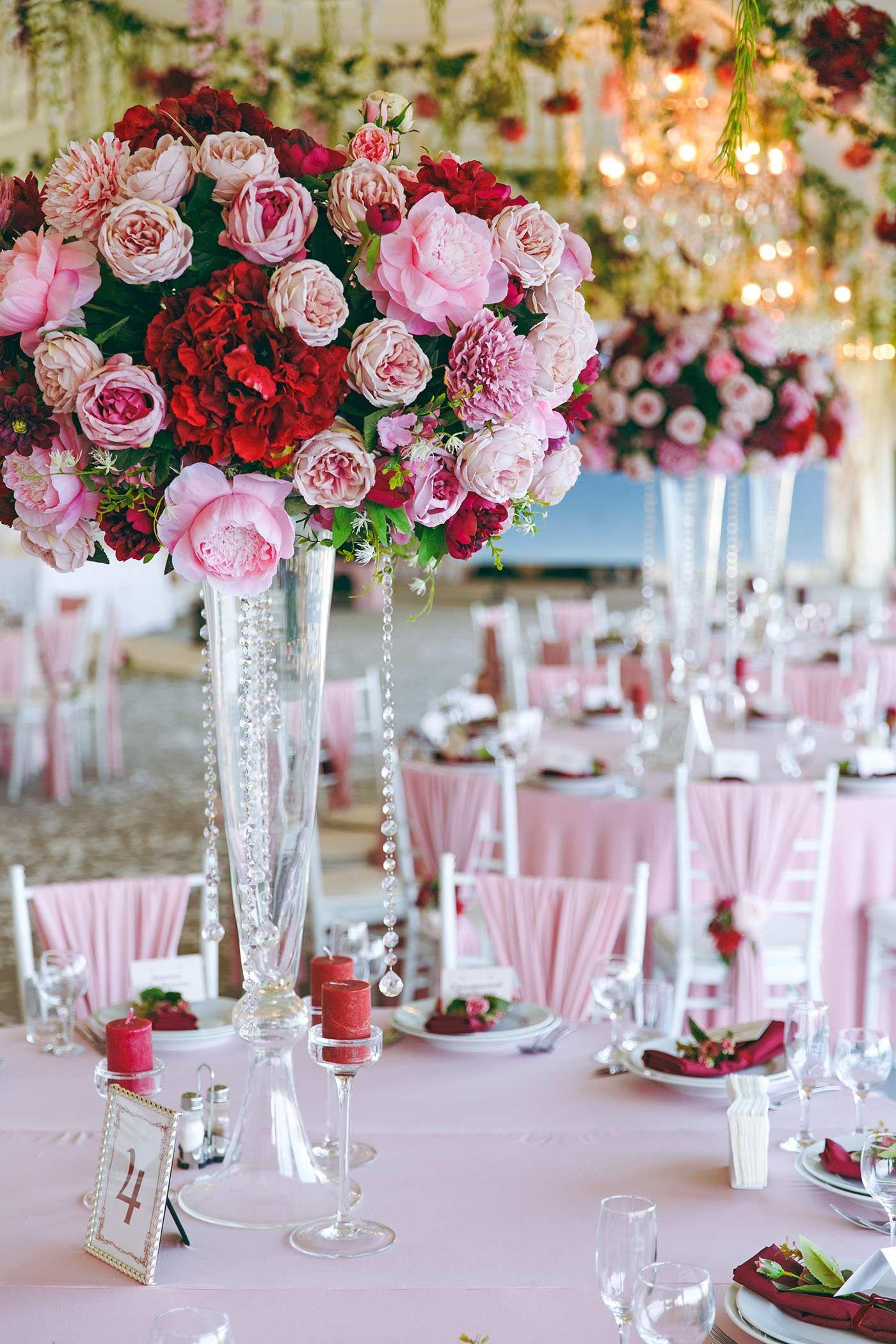 Tischdeko Blumen Hochzeit Pink Centerpieces Pinterest Pink