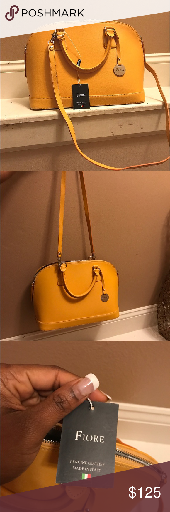 Fiore Handbag Lovely Genuine Leather Mustard Yellow Colored With Silver Zipper Hardware
