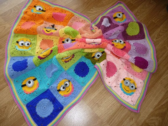 crochet minion blanket granny square minion by Mydayboutique ...