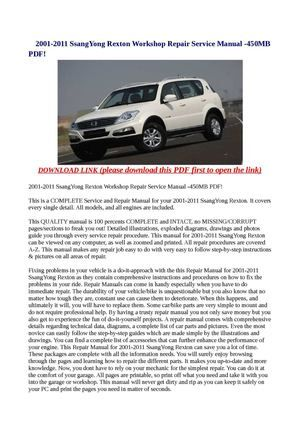 2001 2011 ssangyong rexton workshop repair service manual 450mb pdf rh pinterest com