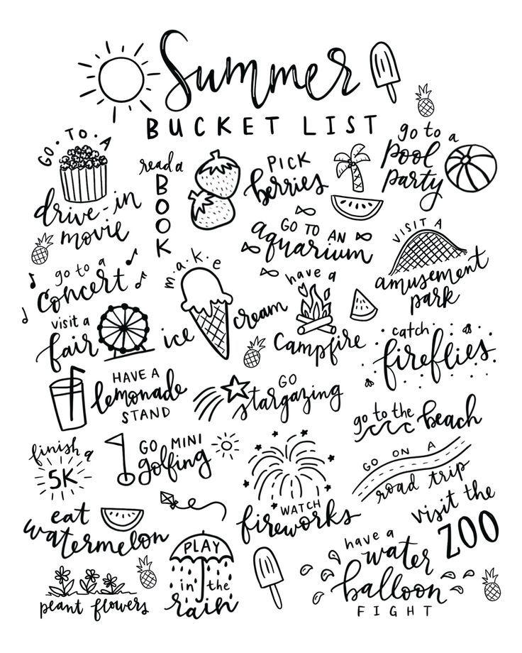 Summer Bucket List Free Printable Coloring Page - Pineapple Paper Co. #summerbucketlists