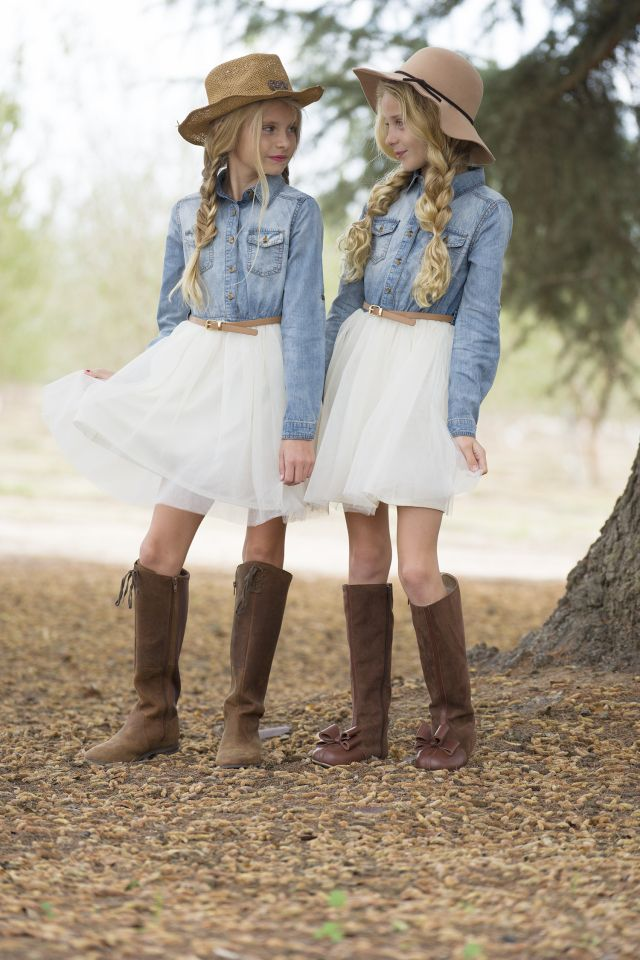 western style, denim and tulle, sisters, kids fashion, tween fashion,  cowgirl style, cowgirl outfit, mini fashion addicts, sisters photoshoot, ...