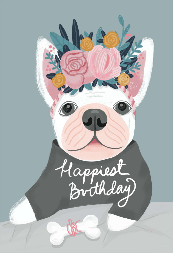 French Bulldog Birthday Card Greetings Island Bulldog Happy Birthday Happy Birthday Art Happy Birthday Pictures