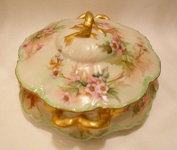 limoges | Exquisite French Porcelaine Limoges Biscuit Jar