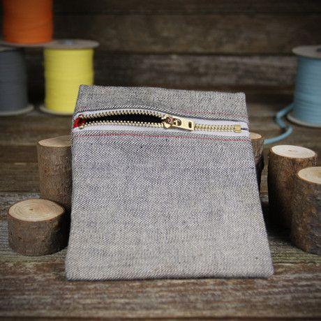 denim zipper pouch- plain – Kata Golda
