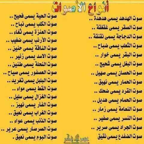 أصوات الحيوانات Learning Arabic Arabic Language Arabic Words