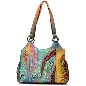 704-385 - Anuschka Triple Compartment Hand Painted Leather Medium Satchel Bag  #ShopNBCWishList