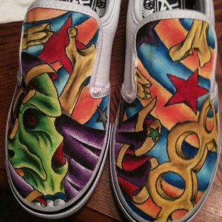 Custom painted shoes.by Patrick Blackwell @ jesters tattoo studio in Cabot AR.