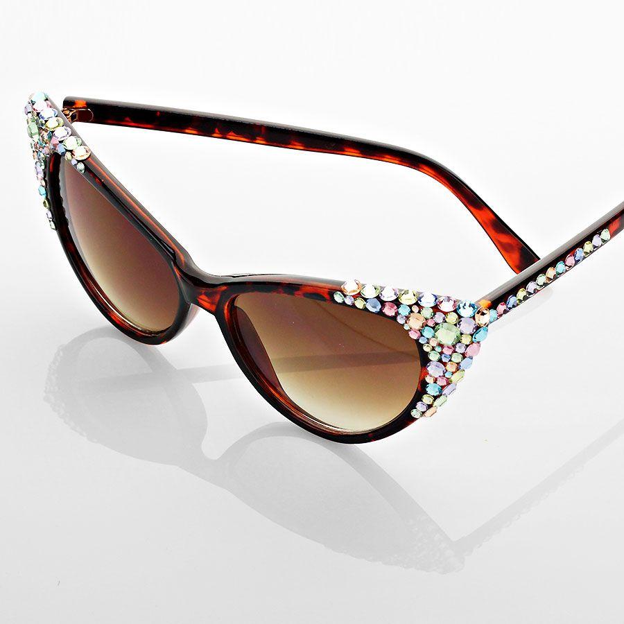 b60212c544 Cat Eye Sunglasses - Pastel Multi Color Rhinestones! SO GLAM! http