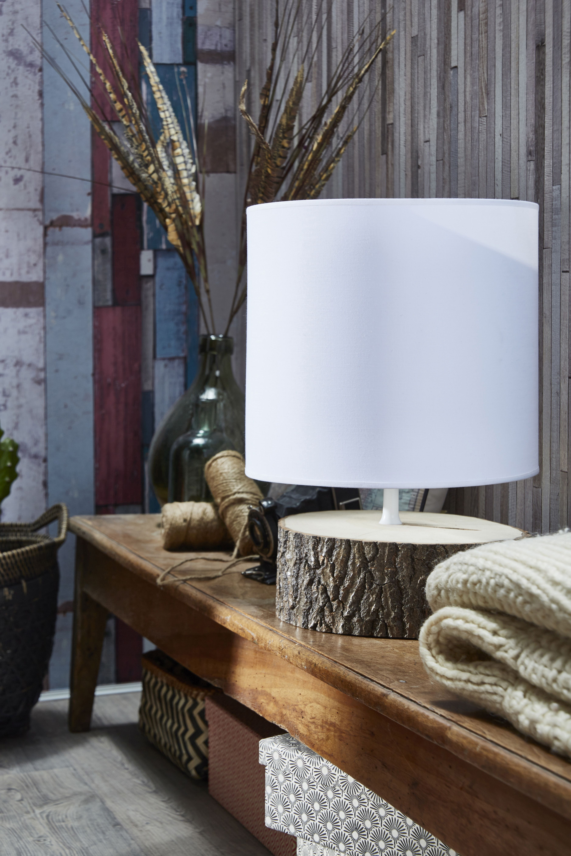 Lampe Ecorce Metropolight Coton Sur Pvc Blanc Leroymerlin