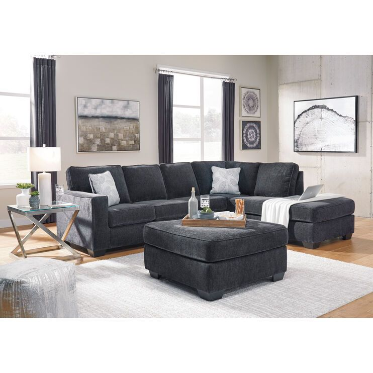 Riles Slate Right Chaise Sectional Living Room Sectional Living Room Color Schemes Gray Sectional Living Room #navy #blue #sectional #living #room