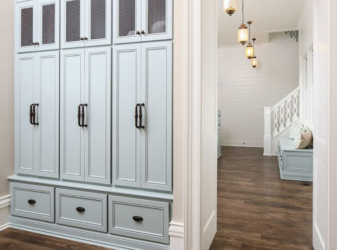 Love these lockers love the chicken wire on top doors for Entryway lockers with doors