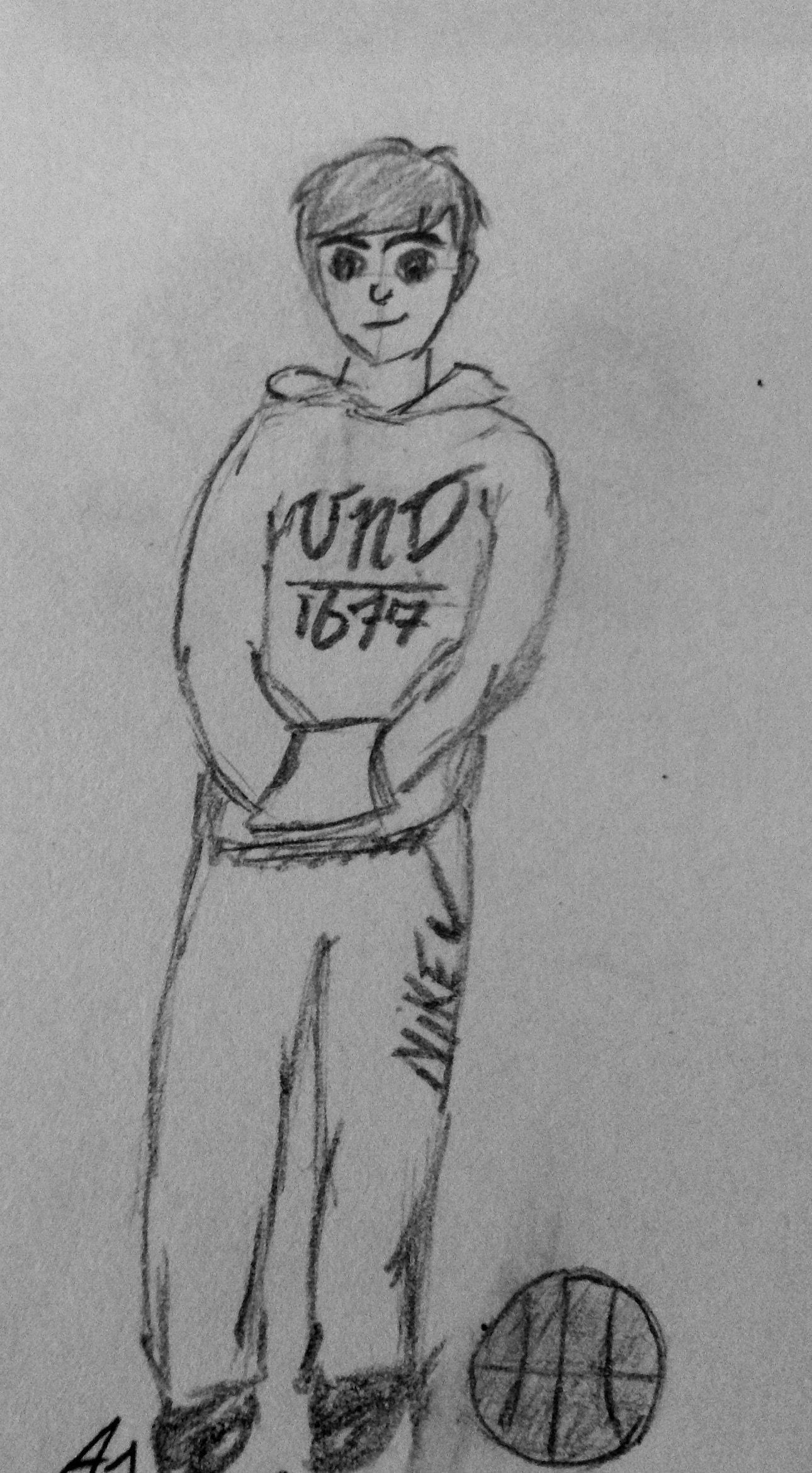Sketch drawing boy teenager hoodie basketball doodle pencil black and white