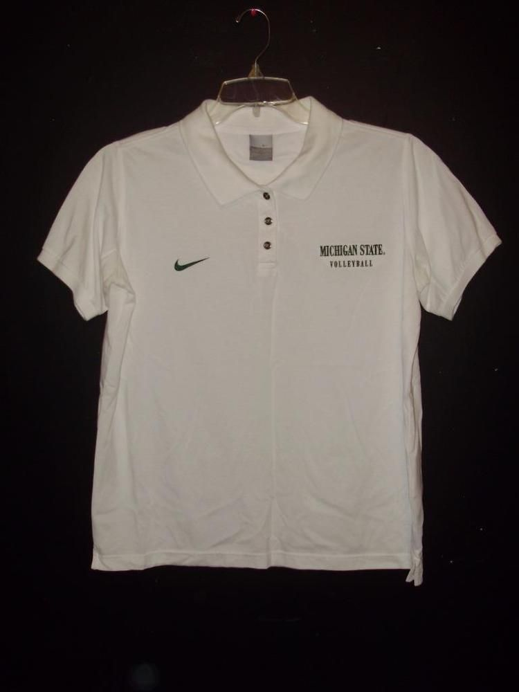 Nike Michigan State Volleyball  White Size L 12/14 Dri-Fit  Short Polo Sleeve #Nike #MichiganStateSpartans