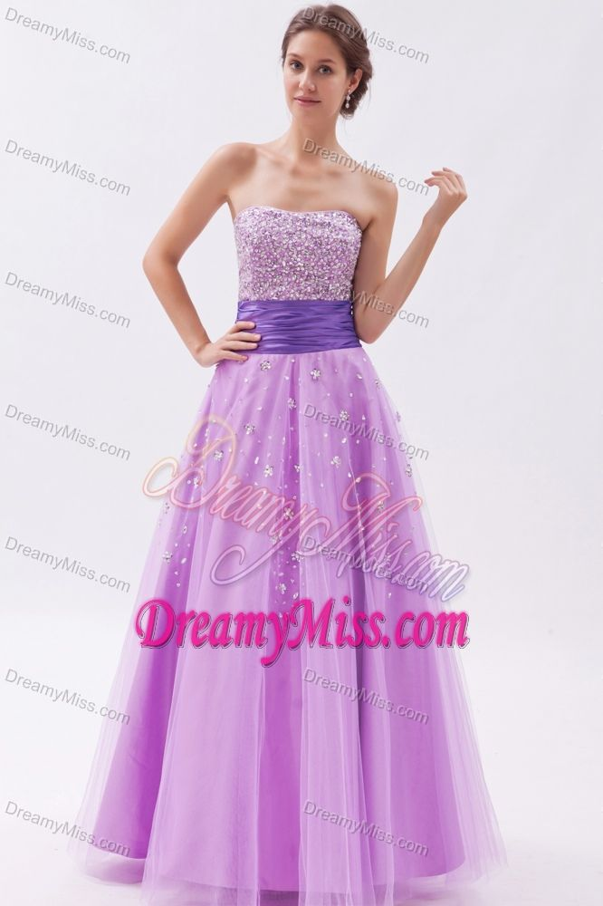 Beaded Princess Strapless Tulle Ruched Prom Dress for Girls Long in Lavender