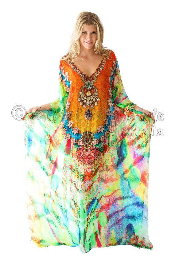 Heavily Embellished Silk Satin Cold Shoulder Kaftan Top