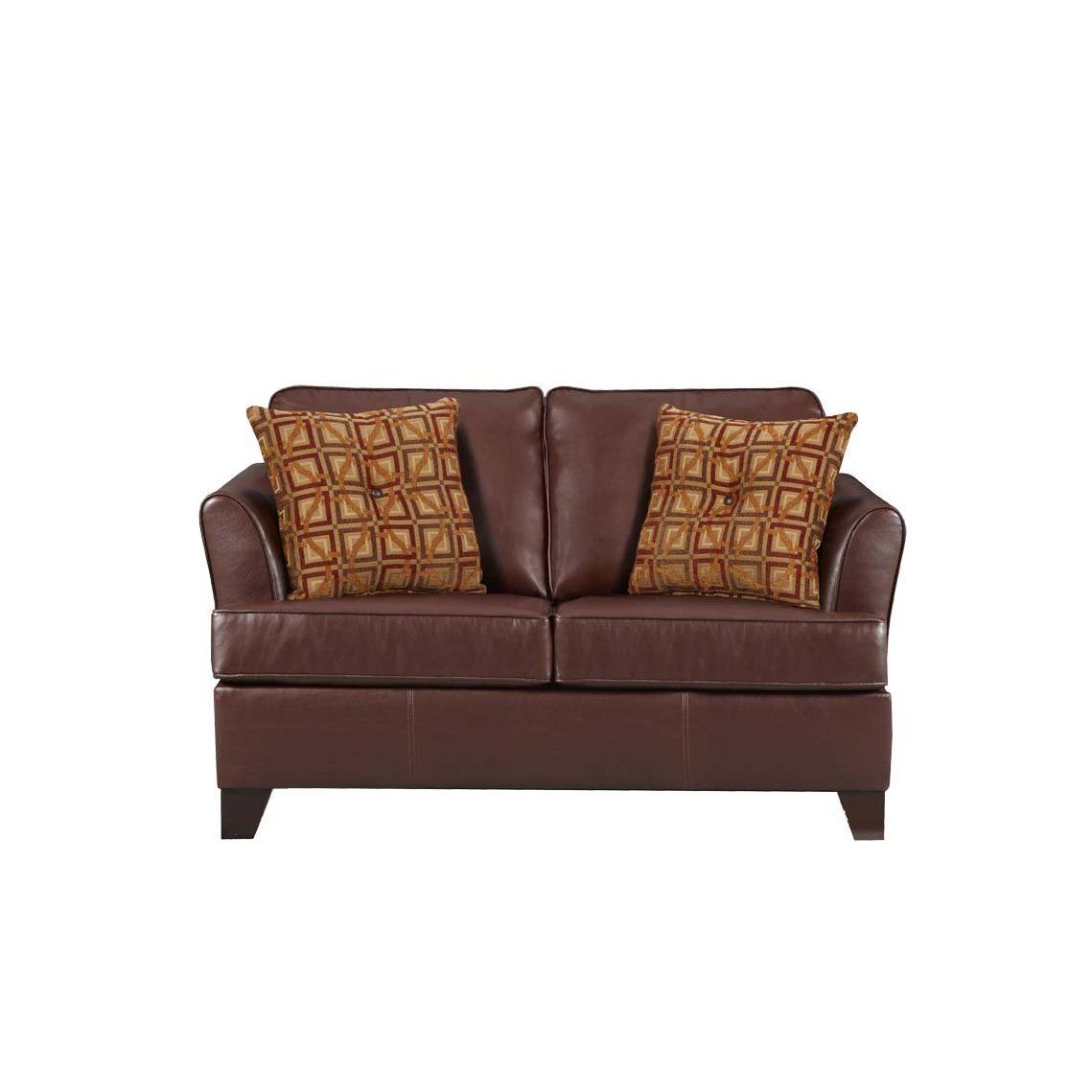 Best Umber Brown Soft Leather Twin Sleeper Sofa By Simmons Oh 640 x 480