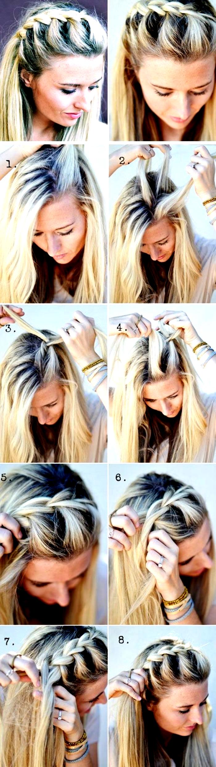 Haare Flechten Mittellange Blonde Haare Schone Frisur Mit Zopf In 2020 Geflochtene Frisuren Mittellange Haare Frisuren Einfach Flechtfrisuren