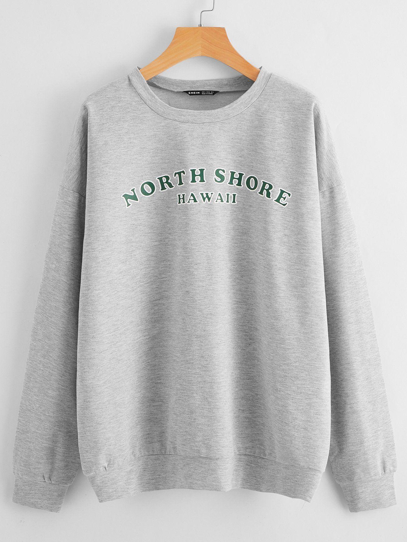 Drop Shoulder Letter Graphic Pullover – M / Light Grey