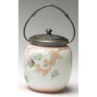 "Victorian biscuit jar, enameled lavender and gray pansies against a milk white background, metal rim, lid and handle, 5""w x 6.5""h $300 - $400"