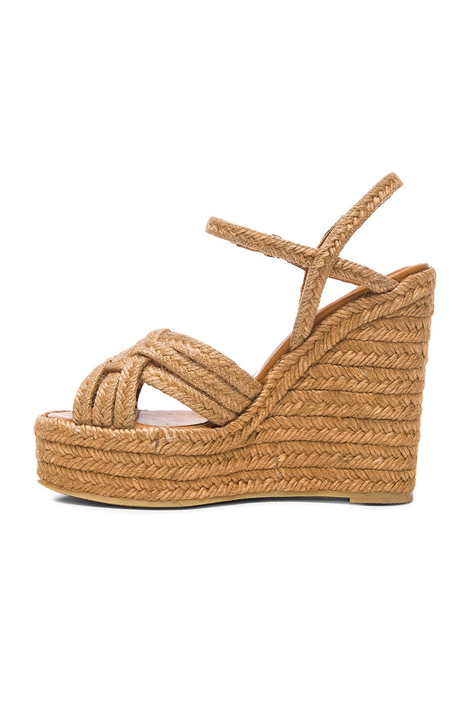 Saint Laurent | Beige Braided Leather Platform Espadrilles | Lyst
