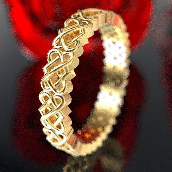 Gold Celtic Wedding Ring With Heart Knotwork Design In 10k 14k 18k