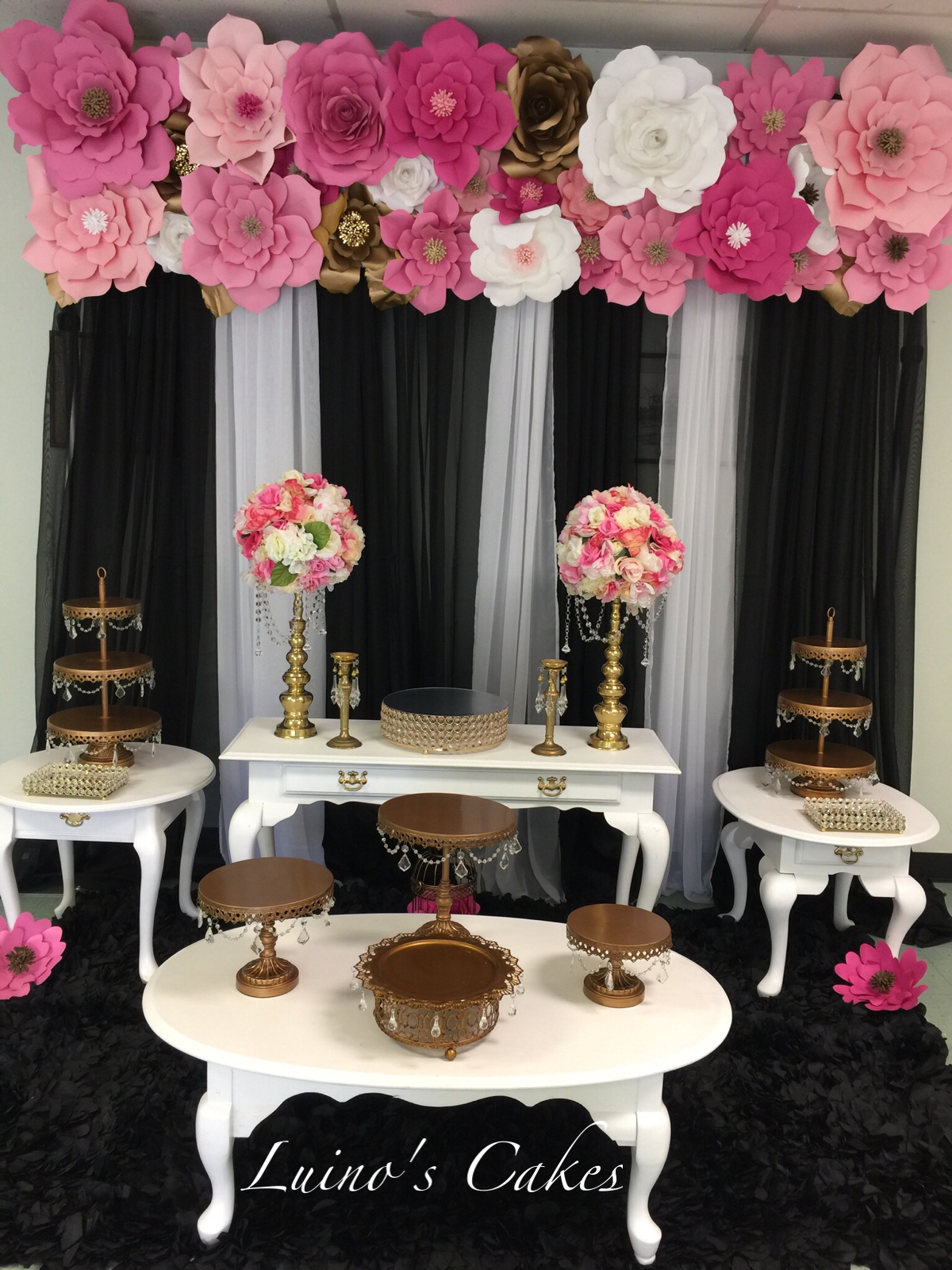 Black And White Stripes With Paper Flowers Candy Table Vintage Candy Table Dessert Table Table Decorations