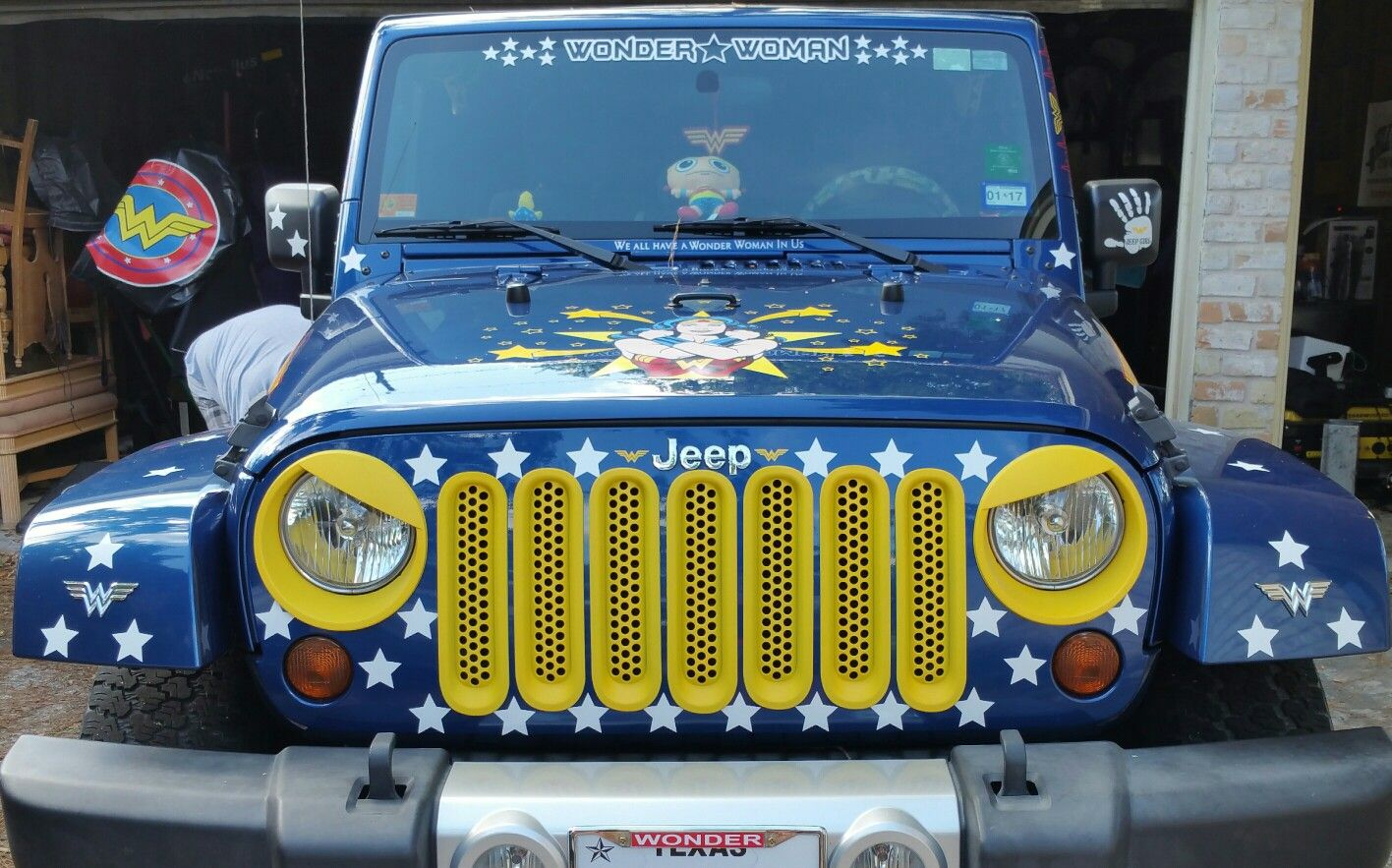 Wonder Woman Jeep Amazonianwarrior Angry Bird Eyes And Grill Inserts Jeep Jeep Camping Amazonian Warrior