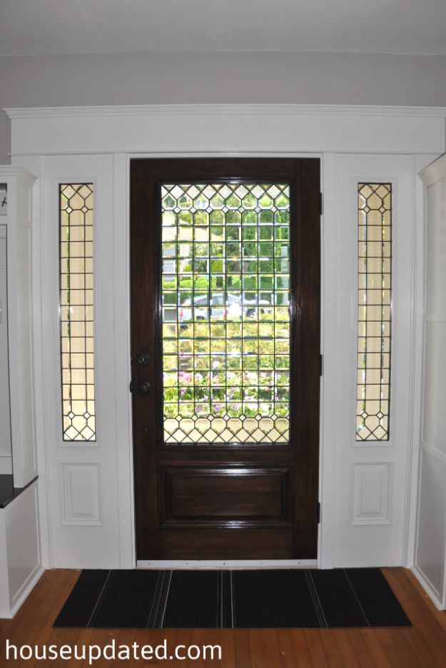 Leaded Glass Front Door Interior Stained Walnut White Trim