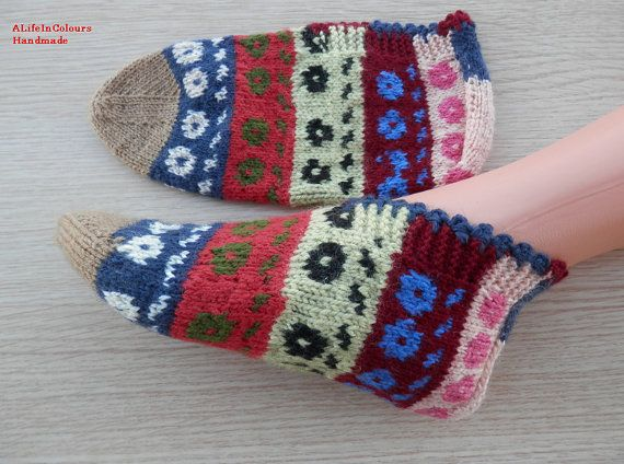 Turkish hand knit women's unique slippers by ALIFEINCOLOURS, $25.00
