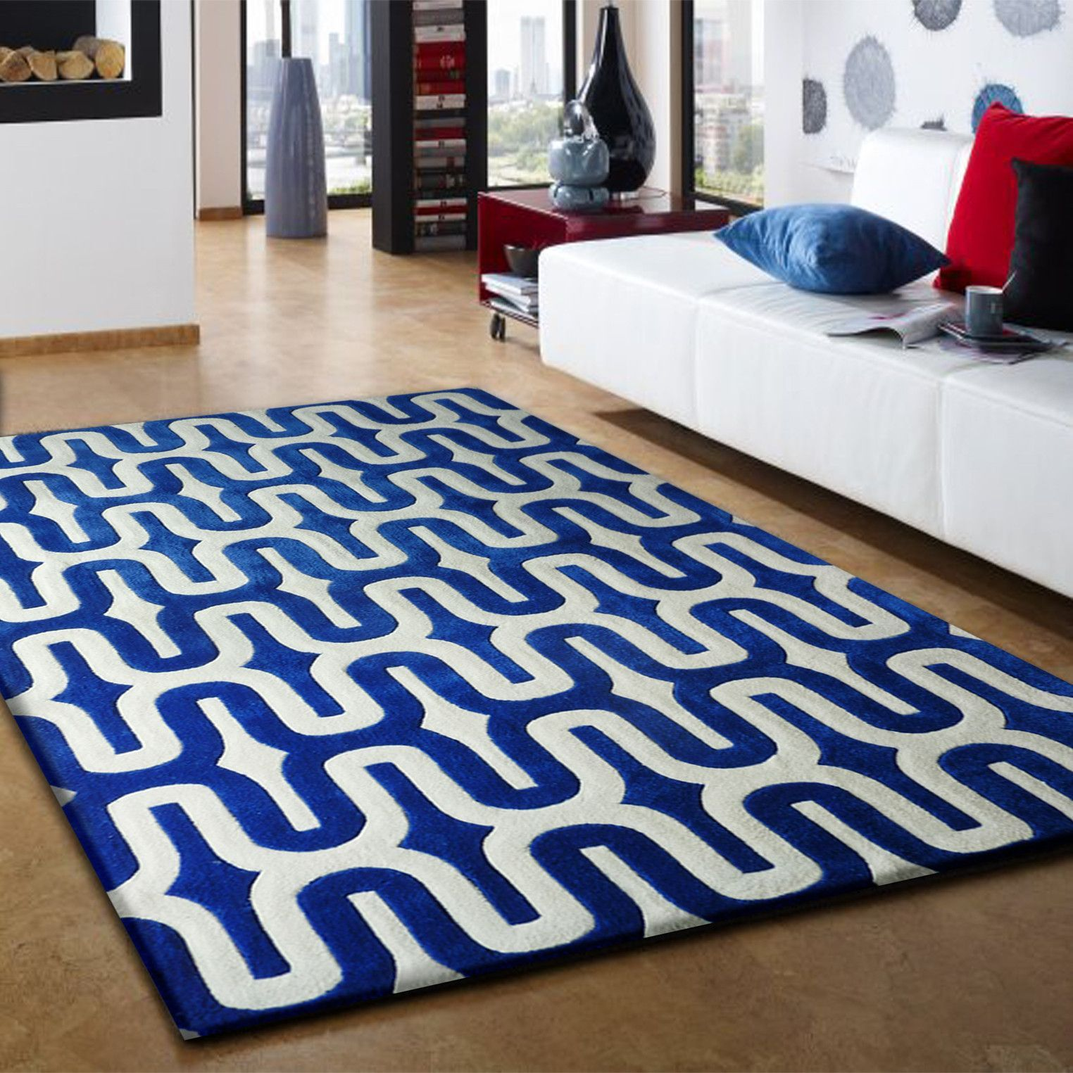 3 Piece Set Linear Design Vibrant Blue With White Area Rug Living Room