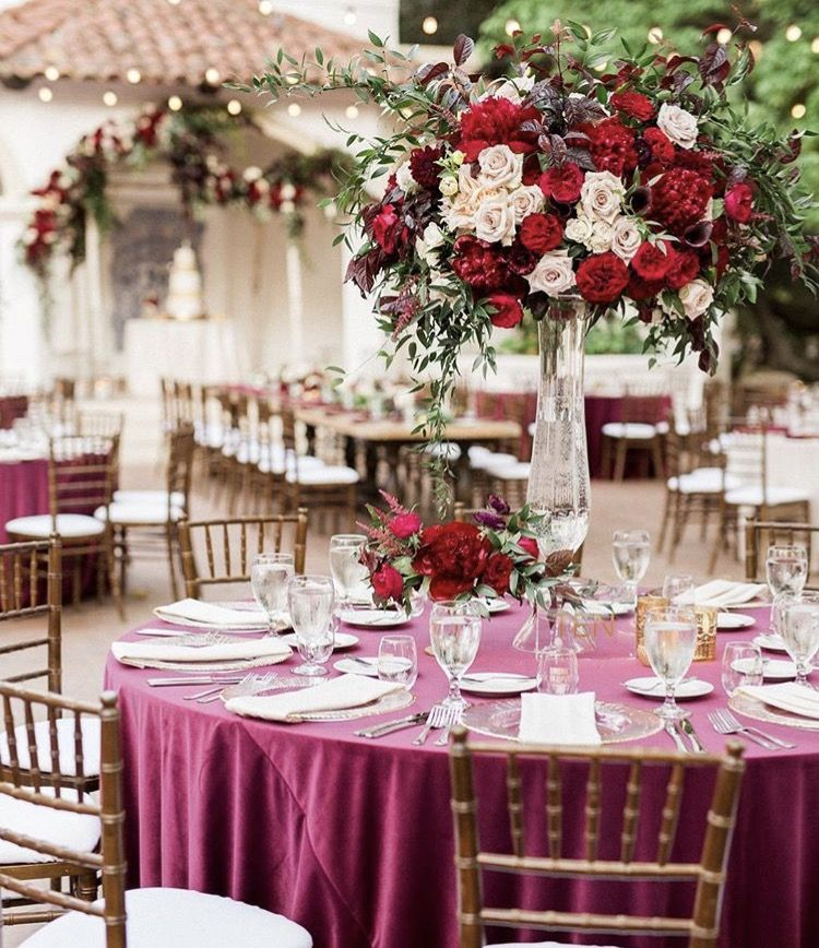 Shades Of Red And Ivory Centerpiece Marsala Gold Wedding Black Silver