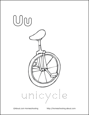 Letter U Coloring Book Free Printable Pages Unicycle Coloring