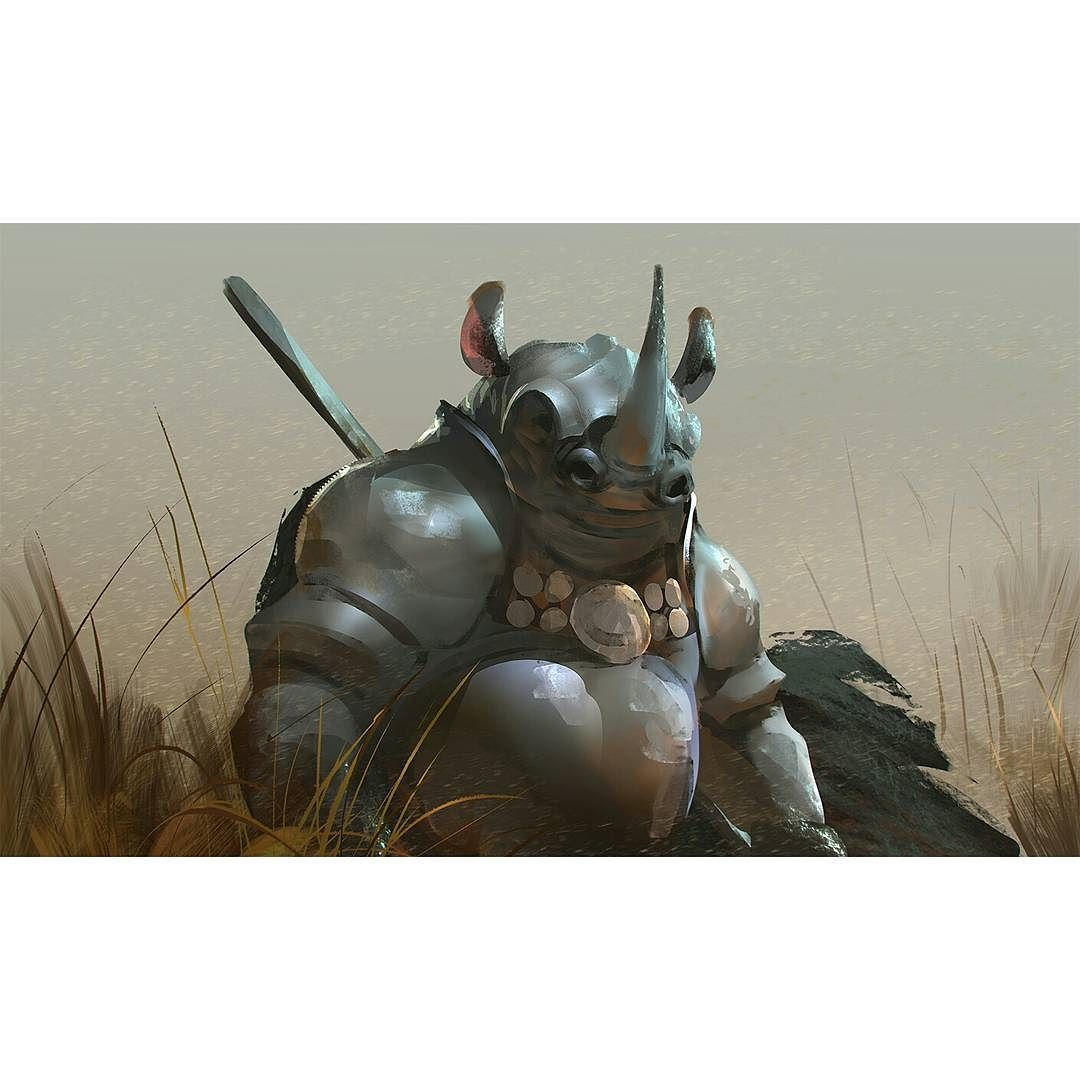 "regram @rudy_crut ""Rhino knight"" for #dailyspitpaint #speedpaint #illustration #crutz #crut #digitalpainting #art #rhino #knight"