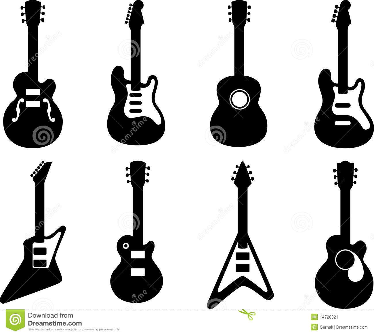 Illustration About Vector Illustration Of 8 Guitar Silhouette To See The Other Guitar Sets Please Check My Portf Guitar Illustration Silhouette Vector Guitar