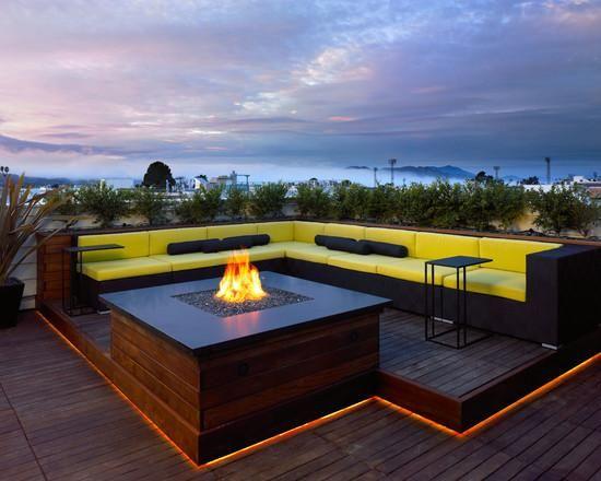 Resultado de imagem para deck com lareira lareira pinterest under deck lighting deck contemporary with banquette black bolster cushions aloadofball Choice Image