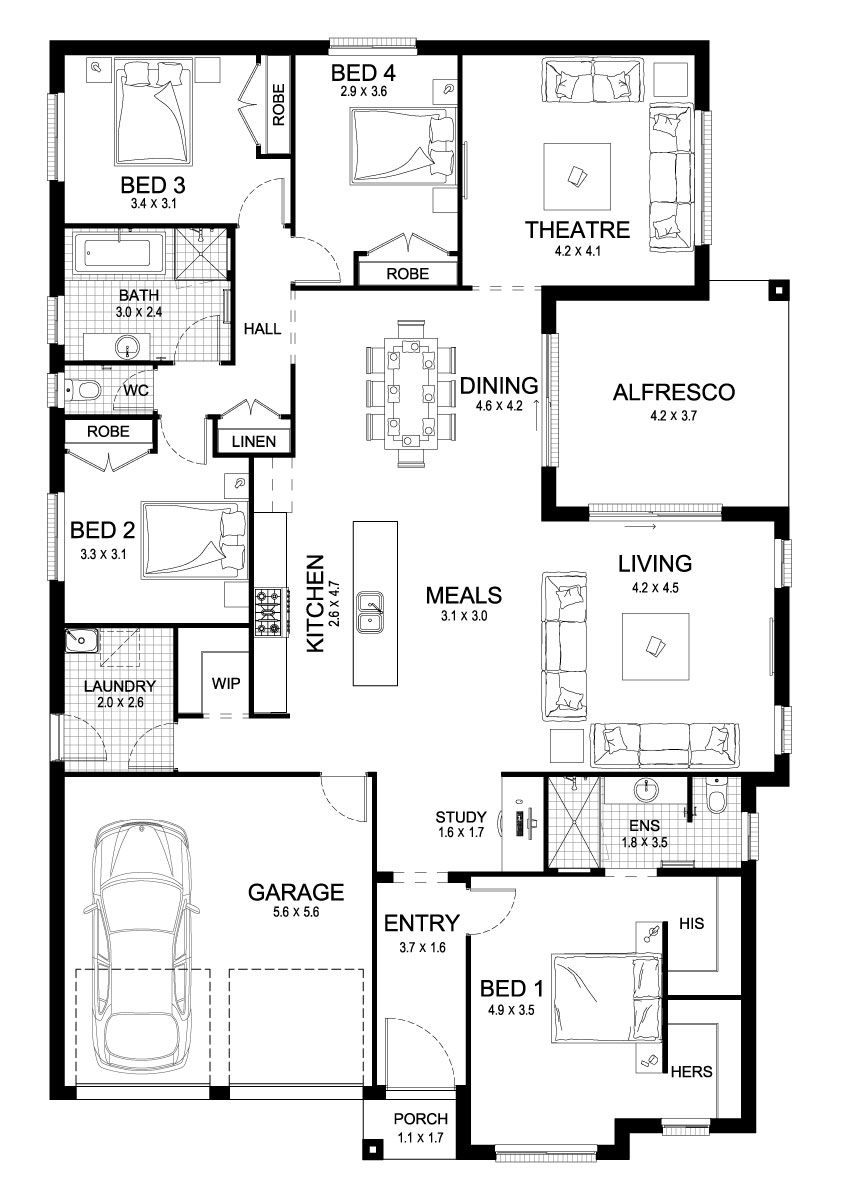 Soul 27 Single Level Floorplan By Kurmond Homes New Home Builders Sydney Nsw With Images Australian House Plans Floor Plans Sustainable House Plans