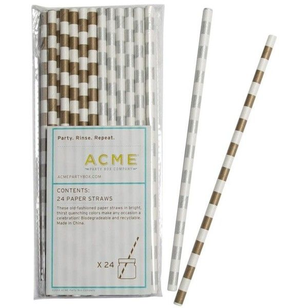 ACME Party Box Company Specialty Straws, Silver & Gold Stripe (19 BRL) ❤ liked on Polyvore featuring home, kitchen & dining and kitchen gadgets & tools